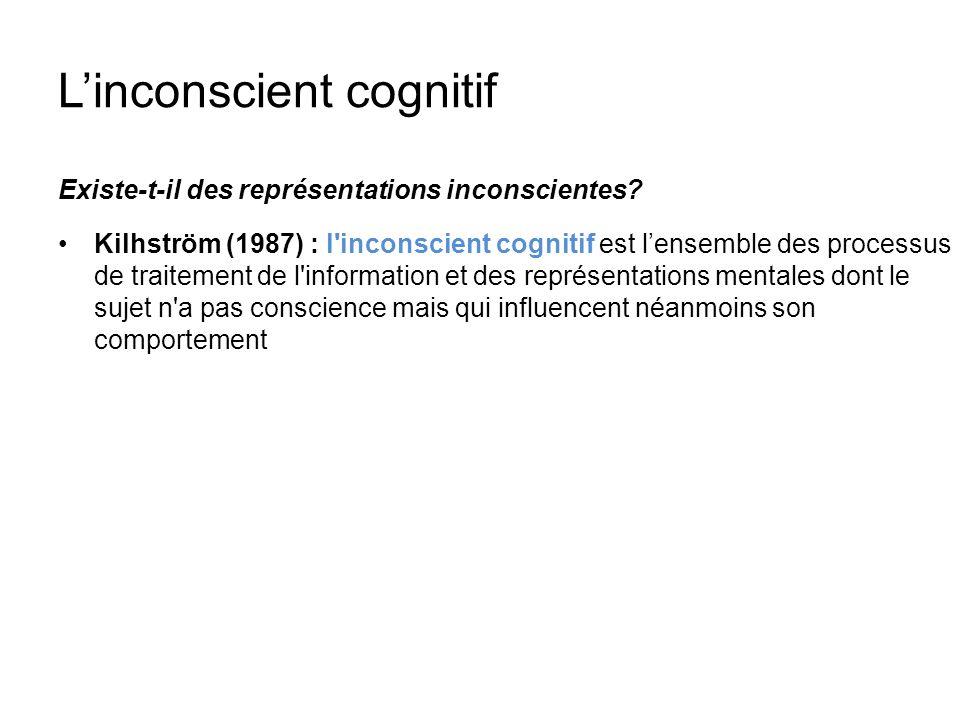 Linconscient cognitif Existe-t-il des représentations inconscientes? Kilhström (1987) : l'inconscient cognitif est lensemble des processus de traiteme