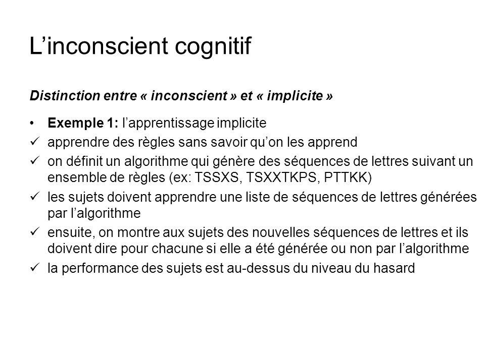 Linconscient cognitif Distinction entre « inconscient » et « implicite » Exemple 1: lapprentissage implicite apprendre des règles sans savoir quon les