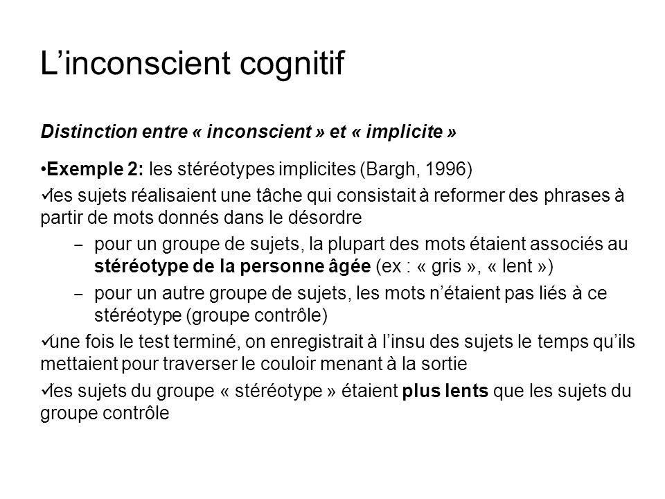 Linconscient cognitif Distinction entre « inconscient » et « implicite » Exemple 2: les stéréotypes implicites (Bargh, 1996) les sujets réalisaient un
