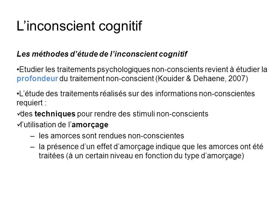 Linconscient cognitif Les méthodes détude de linconscient cognitif Etudier les traitements psychologiques non-conscients revient à étudier la profonde