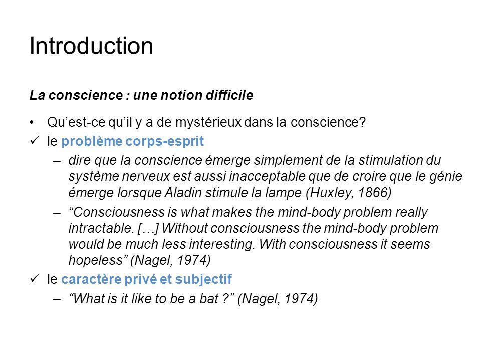 Introduction La conscience : une notion difficile Quest-ce quil y a de mystérieux dans la conscience? le problème corps-esprit –dire que la conscience
