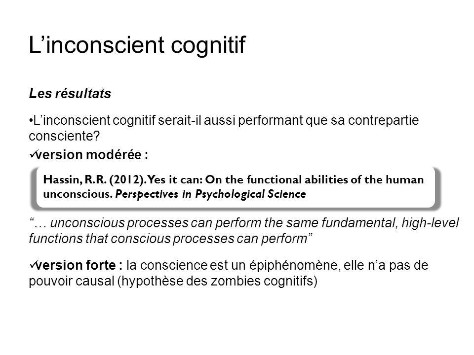 Linconscient cognitif Les résultats Linconscient cognitif serait-il aussi performant que sa contrepartie consciente? version modérée : … unconscious p