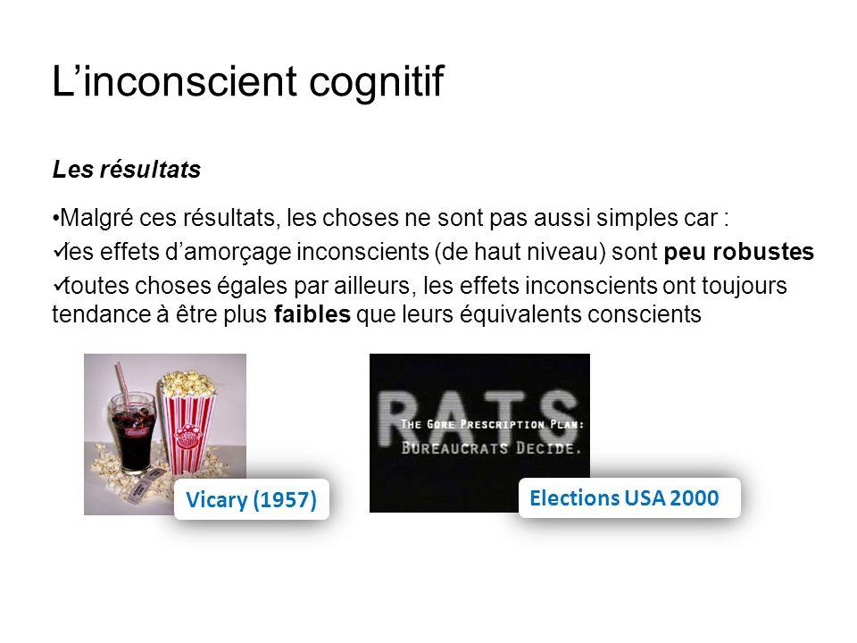 Linconscient cognitif Les résultats Malgré ces résultats, les choses ne sont pas aussi simples car : les effets damorçage inconscients (de haut niveau