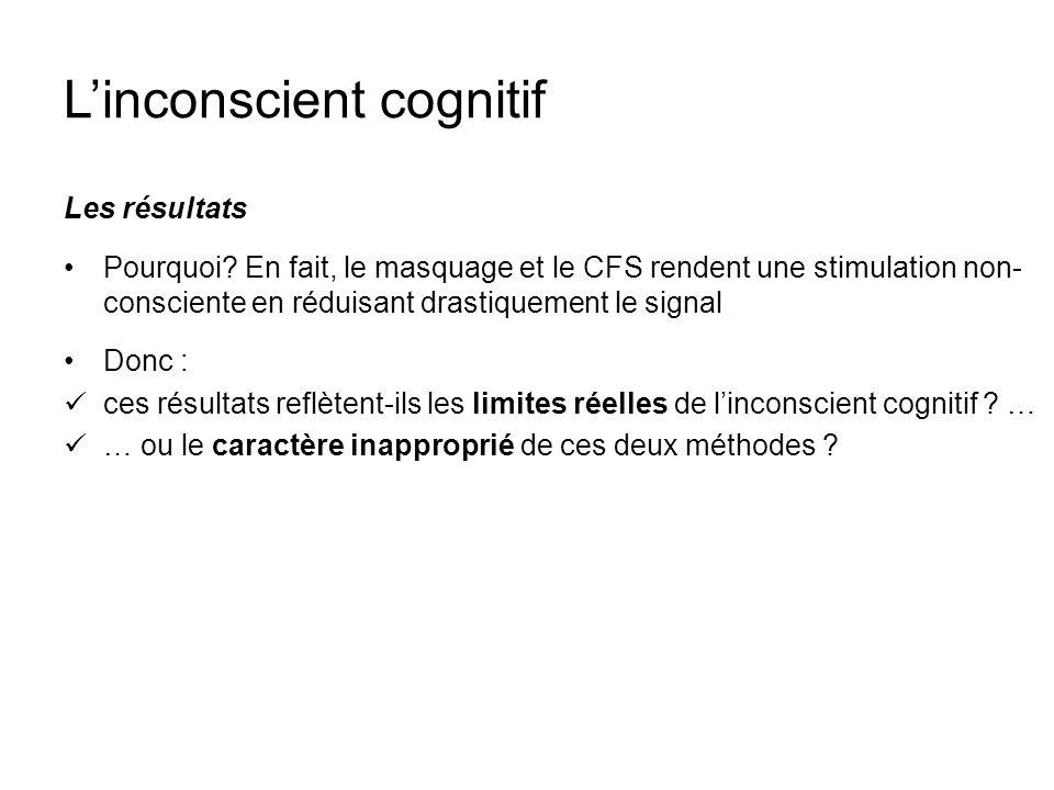 Linconscient cognitif Les résultats Pourquoi? En fait, le masquage et le CFS rendent une stimulation non- consciente en réduisant drastiquement le sig