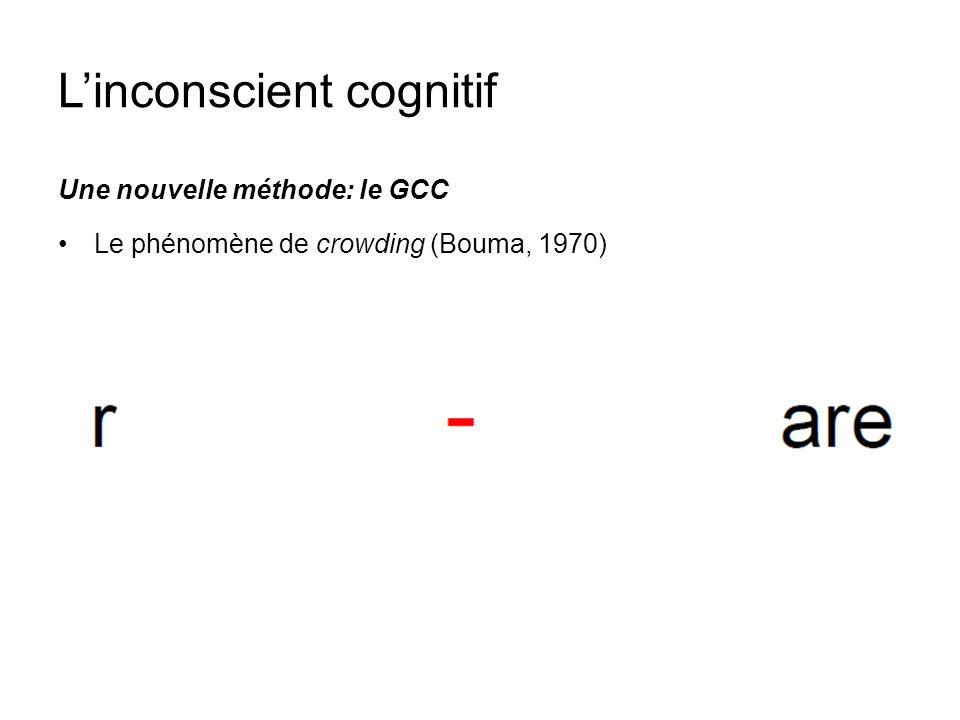 Linconscient cognitif Une nouvelle méthode: le GCC Le phénomène de crowding (Bouma, 1970)