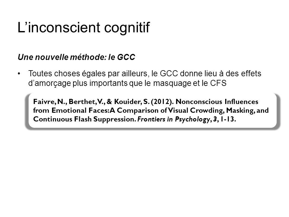 Linconscient cognitif Une nouvelle méthode: le GCC Toutes choses égales par ailleurs, le GCC donne lieu à des effets damorçage plus importants que le
