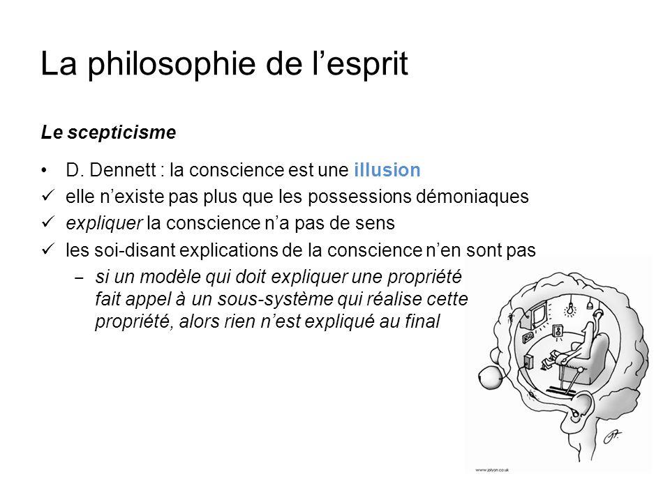 La philosophie de lesprit Le scepticisme D. Dennett : la conscience est une illusion elle nexiste pas plus que les possessions démoniaques expliquer l