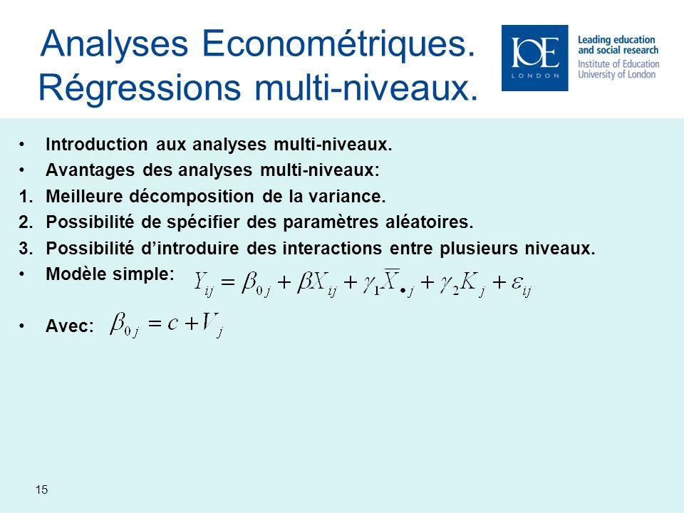 15 Analyses Econométriques. Régressions multi-niveaux. Introduction aux analyses multi-niveaux. Avantages des analyses multi-niveaux: 1.Meilleure déco