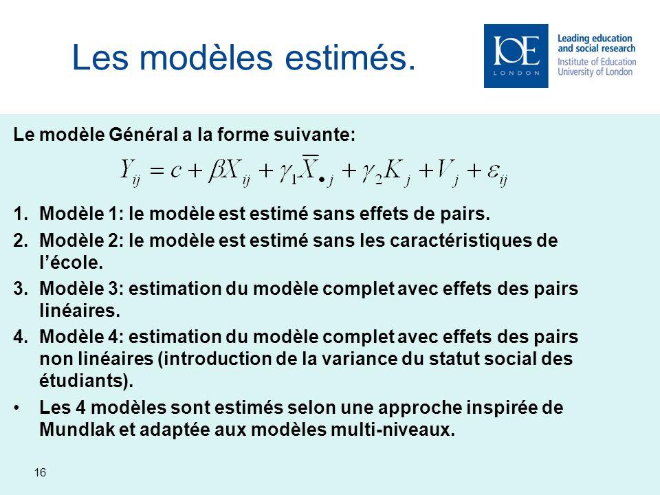 16 Les modèles estimés. Le modèle Général a la forme suivante: 1.Modèle 1: le modèle est estimé sans effets de pairs. 2.Modèle 2: le modèle est estimé