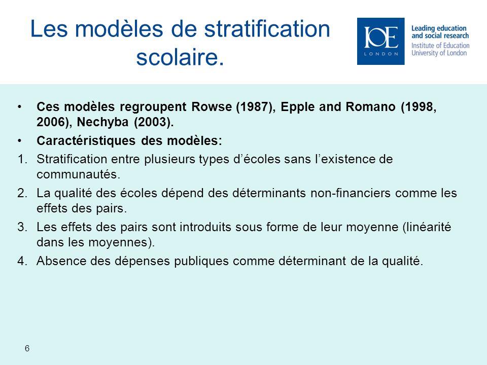 7 Les modèles de stratification spatiale.
