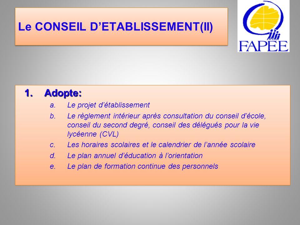 Le CONSEIL DETABLISSEMENT(II) 1.Adopte: a.Le projet détablissement b.Le règlement intérieur après consultation du conseil décole, conseil du second de
