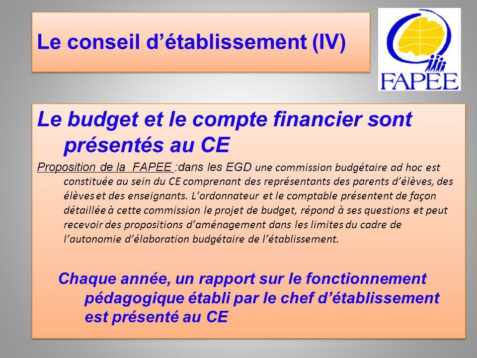 Le conseil détablissement (IV) Le budget et le compte financier sont présentés au CE Proposition de la FAPEE :dans les EGD une commission budgétaire a