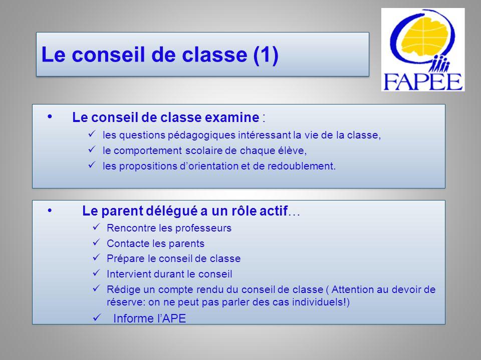 Le conseil de classe (1) Le conseil de classe examine : les questions pédagogiques intéressant la vie de la classe, le comportement scolaire de chaque