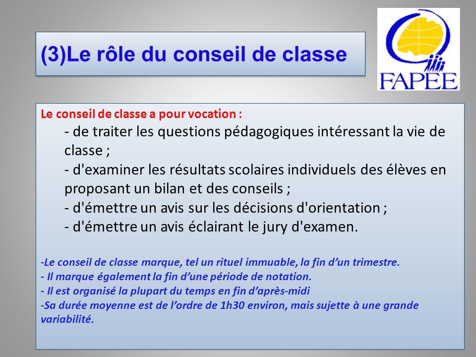 (3)Le rôle du conseil de classe Le conseil de classe a pour vocation : - de traiter les questions pédagogiques intéressant la vie de classe ; - d'exam