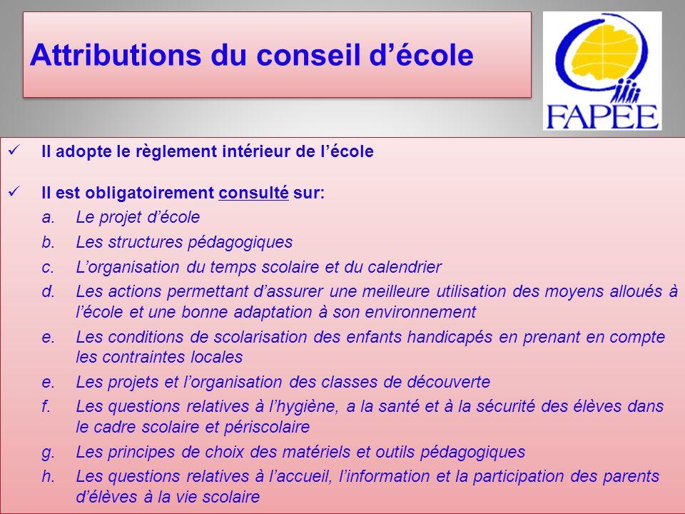 Attributions du conseil décole Il adopte le règlement intérieur de lécole Il est obligatoirement consulté sur: a. Le projet décole b. Les structures p