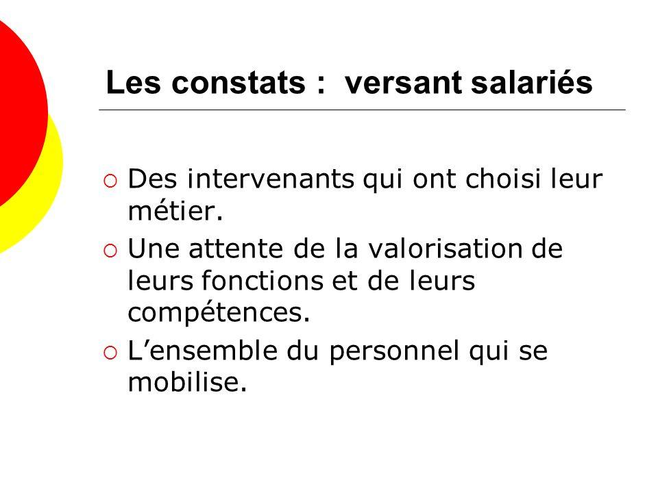Les constats : versant salariés Des intervenants qui ont choisi leur métier.
