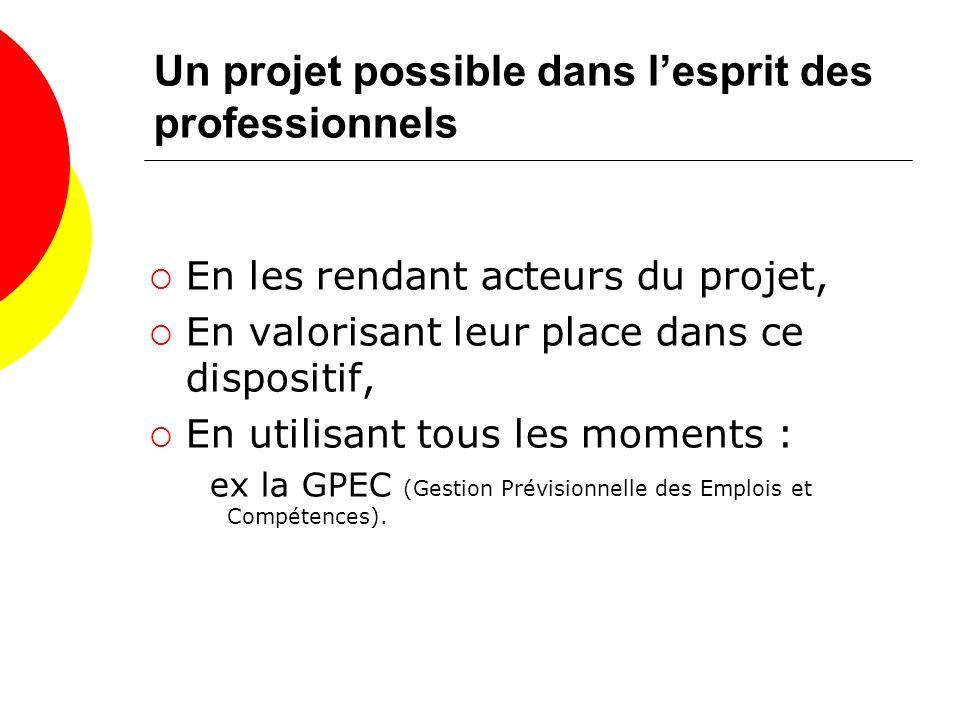 Un projet possible dans lesprit des professionnels En les rendant acteurs du projet, En valorisant leur place dans ce dispositif, En utilisant tous les moments : ex la GPEC (Gestion Prévisionnelle des Emplois et Compétences).