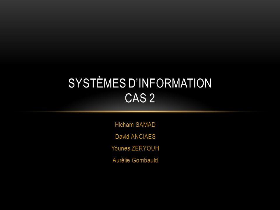 Hicham SAMAD David ANCIAES Younes ZERYOUH Aurélie Gombauld SYSTÈMES DINFORMATION CAS 2