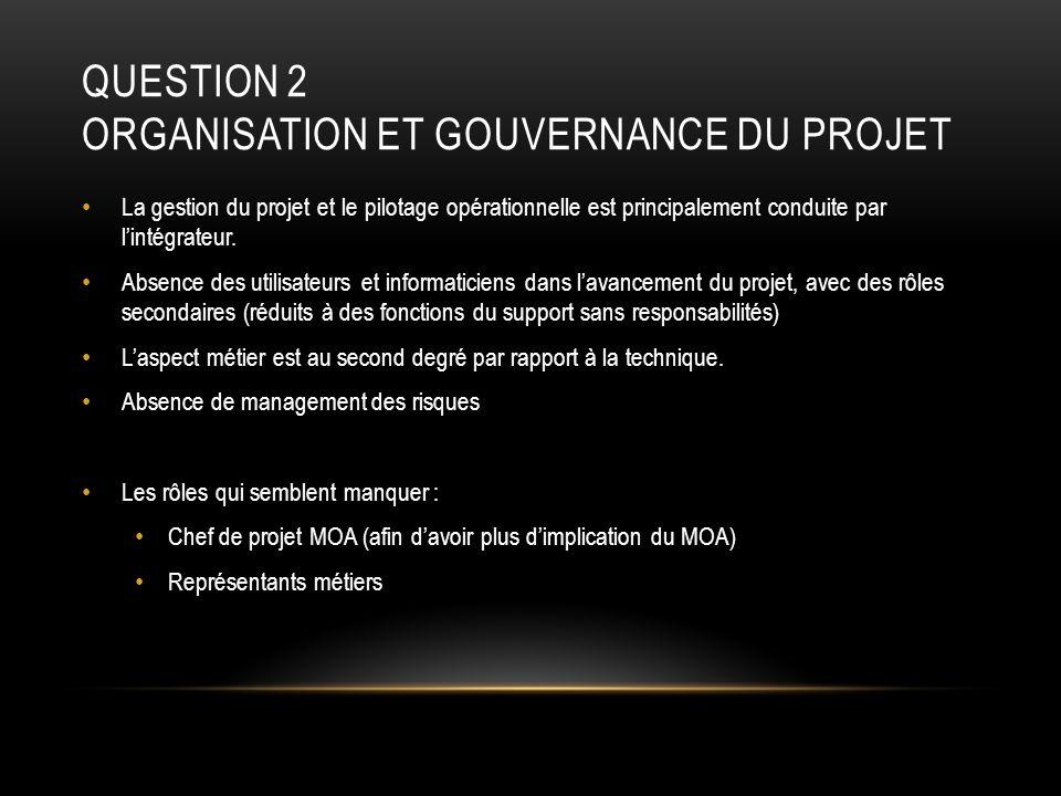 QUESTION 2 ORGANISATION ET GOUVERNANCE DU PROJET La gestion du projet et le pilotage opérationnelle est principalement conduite par lintégrateur. Abse