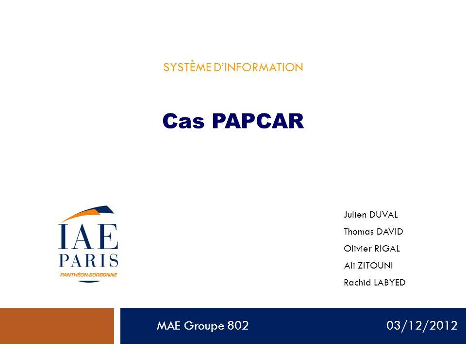 MAE Groupe 802 03/12/2012 SYSTÈME DINFORMATION Cas PAPCAR Julien DUVAL Thomas DAVID Olivier RIGAL Ali ZITOUNI Rachid LABYED