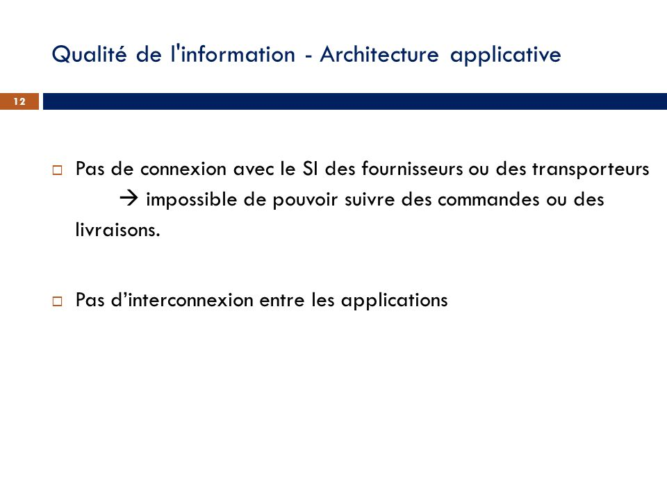 Qualité de l'information - Architecture applicative Pas de connexion avec le SI des fournisseurs ou des transporteurs impossible de pouvoir suivre des