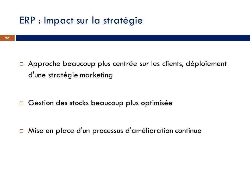 ERP : Impact sur la stratégie Approche beaucoup plus centrée sur les clients, déploiement d'une stratégie marketing Gestion des stocks beaucoup plus o