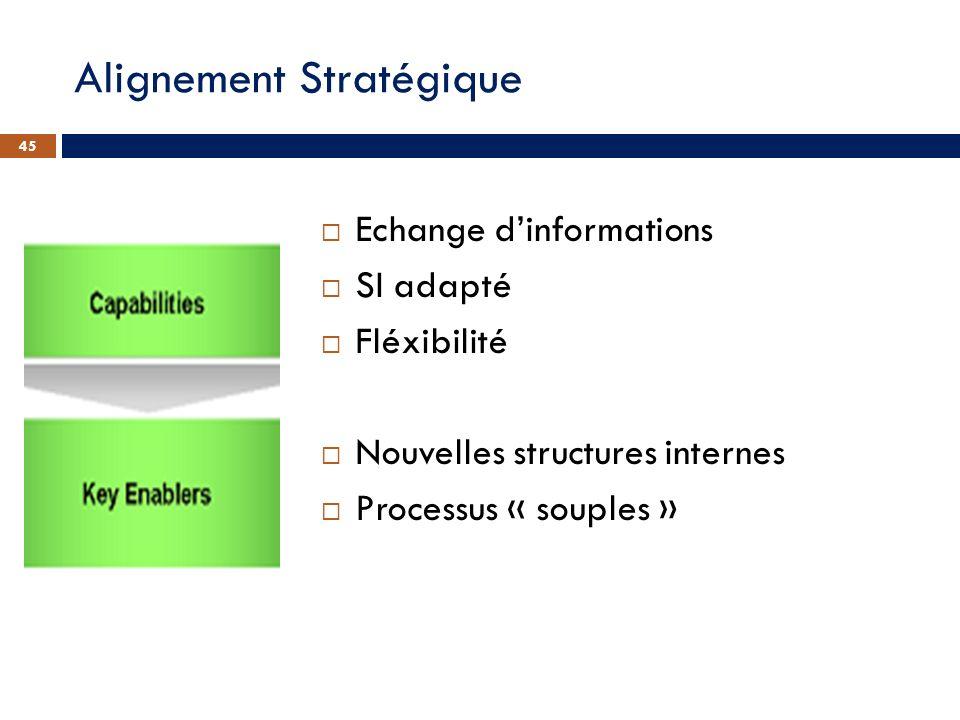 Echange dinformations SI adapté Fléxibilité Nouvelles structures internes Processus « souples » 45 Alignement Stratégique