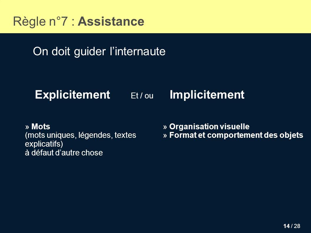 14 / 28 Règle n°7 : Assistance On doit guider linternaute » Mots (mots uniques, légendes, textes explicatifs) à défaut dautre chose » Organisation vis