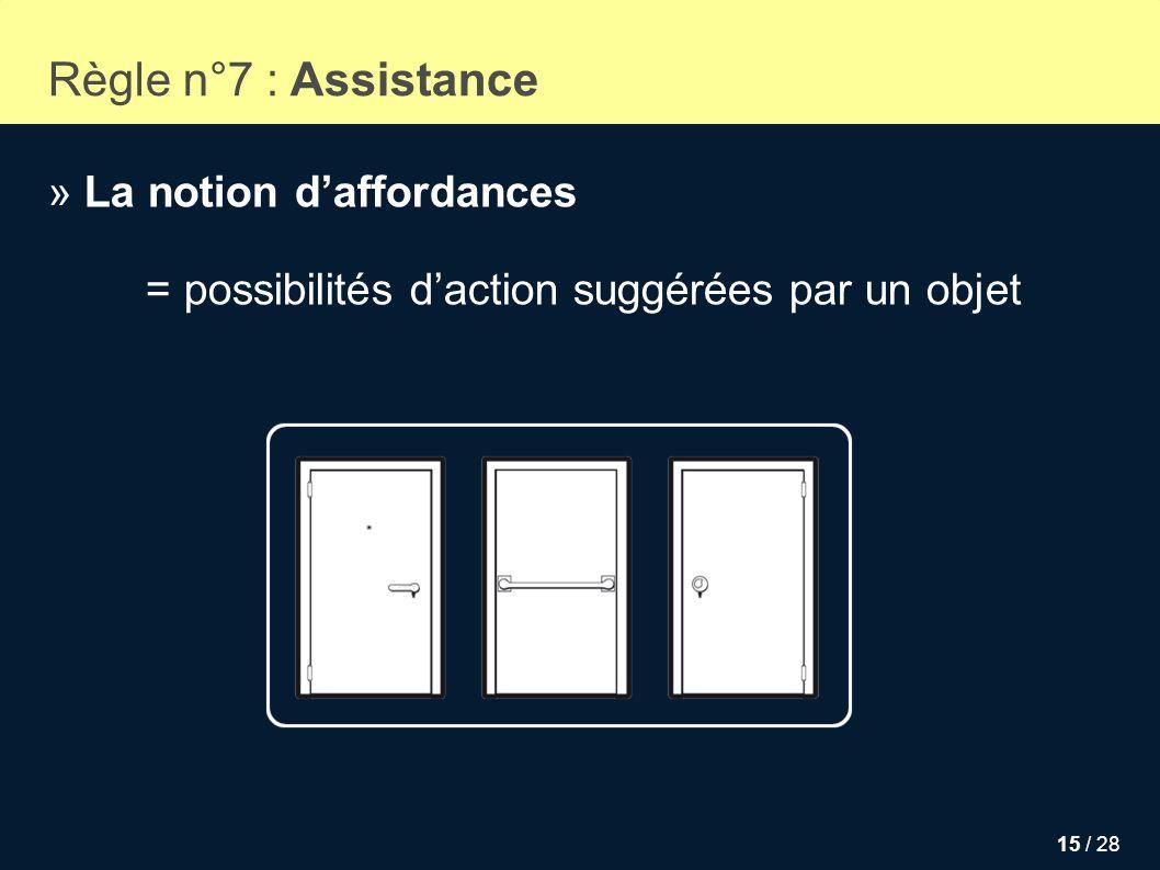 15 / 28 Règle n°7 : Assistance » La notion daffordances = possibilités daction suggérées par un objet