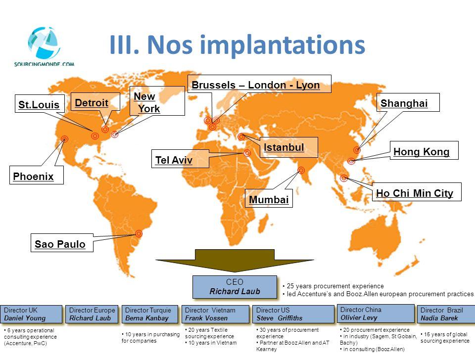 III. Nos implantations Phoenix St.Louis Detroit New York Brussels – London - Lyon Tel Aviv Mumbai Shanghai Hong Kong Ho Chi Min City Sao Paulo CEO Ric