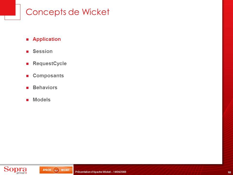 10 Présentation dApache Wicket – 14/04/2008 Concepts de Wicket Application Session RequestCycle Composants Behaviors Models