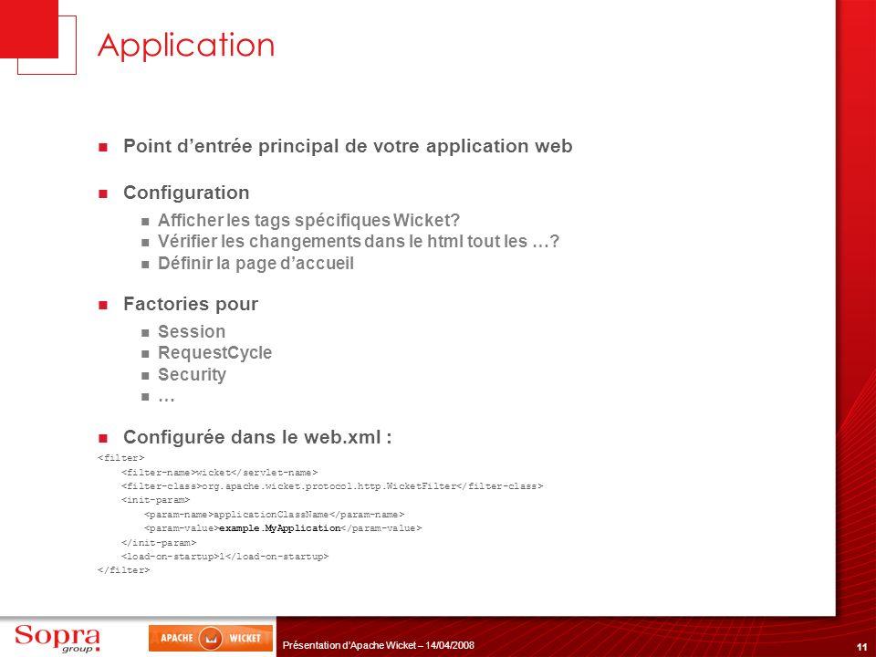 11 Présentation dApache Wicket – 14/04/2008 Application Point dentrée principal de votre application web Configuration Afficher les tags spécifiques W