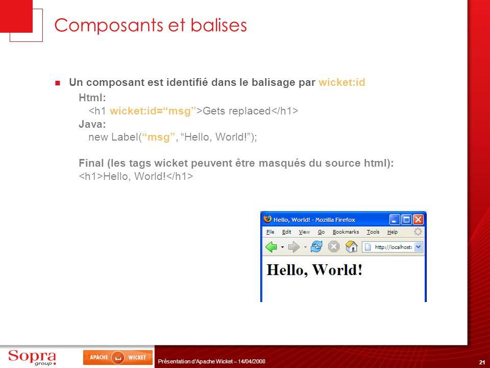 21 Présentation dApache Wicket – 14/04/2008 Composants et balises Un composant est identifié dans le balisage par wicket:id Html: Gets replaced Java: