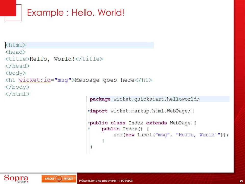 23 Présentation dApache Wicket – 14/04/2008 Example : Hello, World!