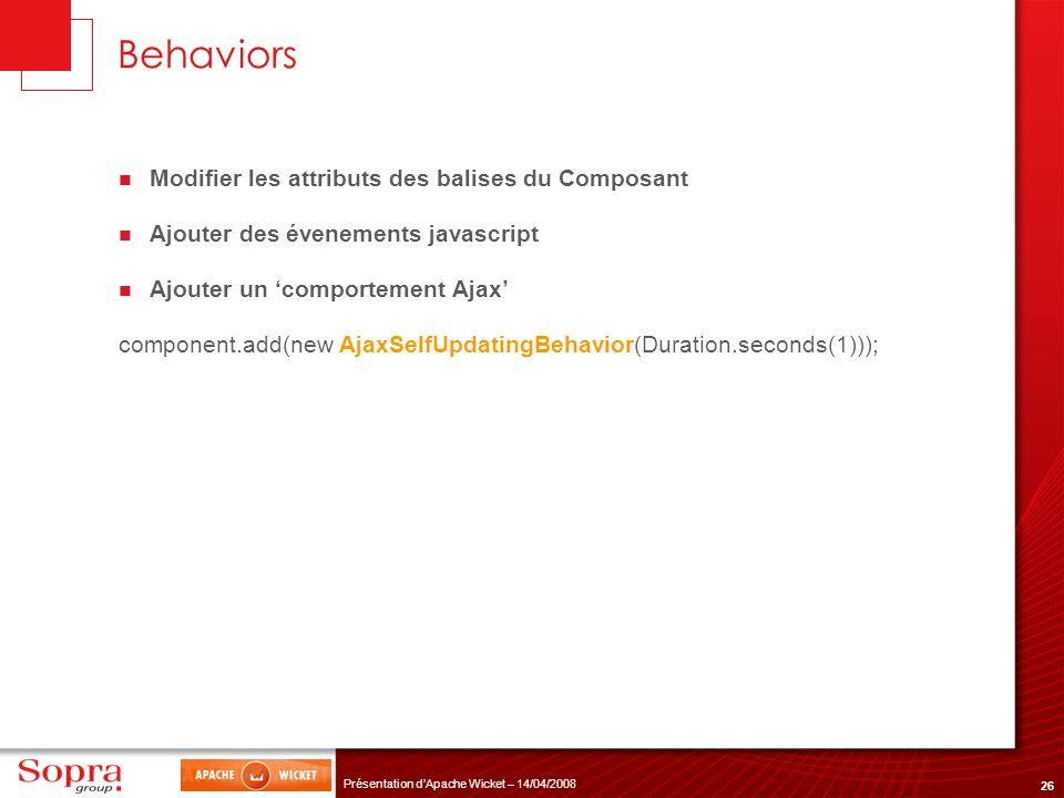 26 Présentation dApache Wicket – 14/04/2008 Behaviors Modifier les attributs des balises du Composant Ajouter des évenements javascript Ajouter un com