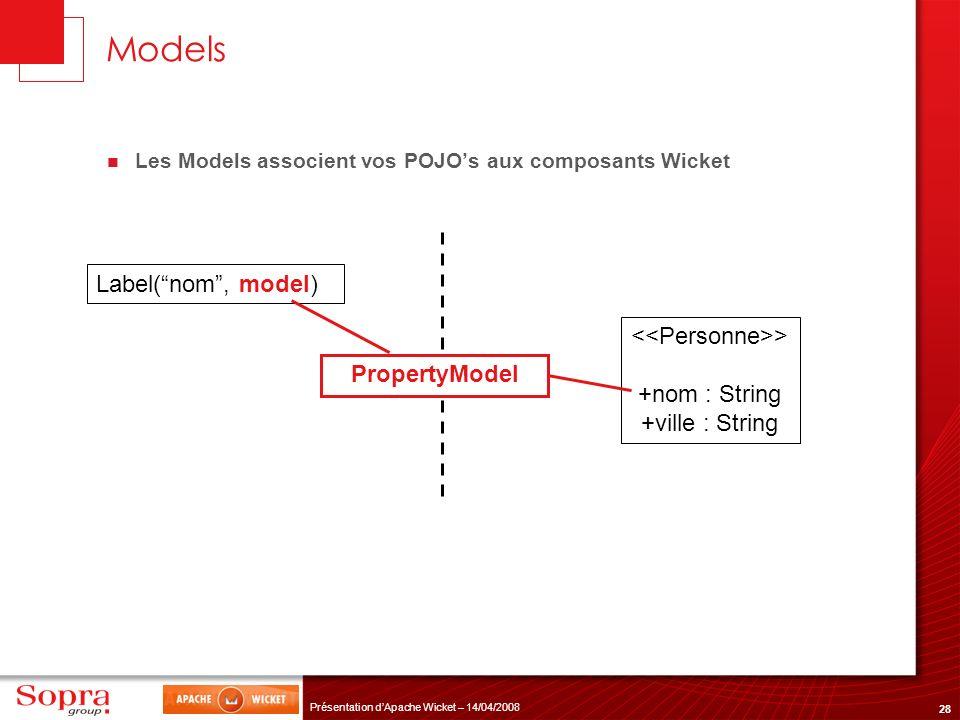 28 Présentation dApache Wicket – 14/04/2008 Models Les Models associent vos POJOs aux composants Wicket Label(nom, model) > +nom : String +ville : Str