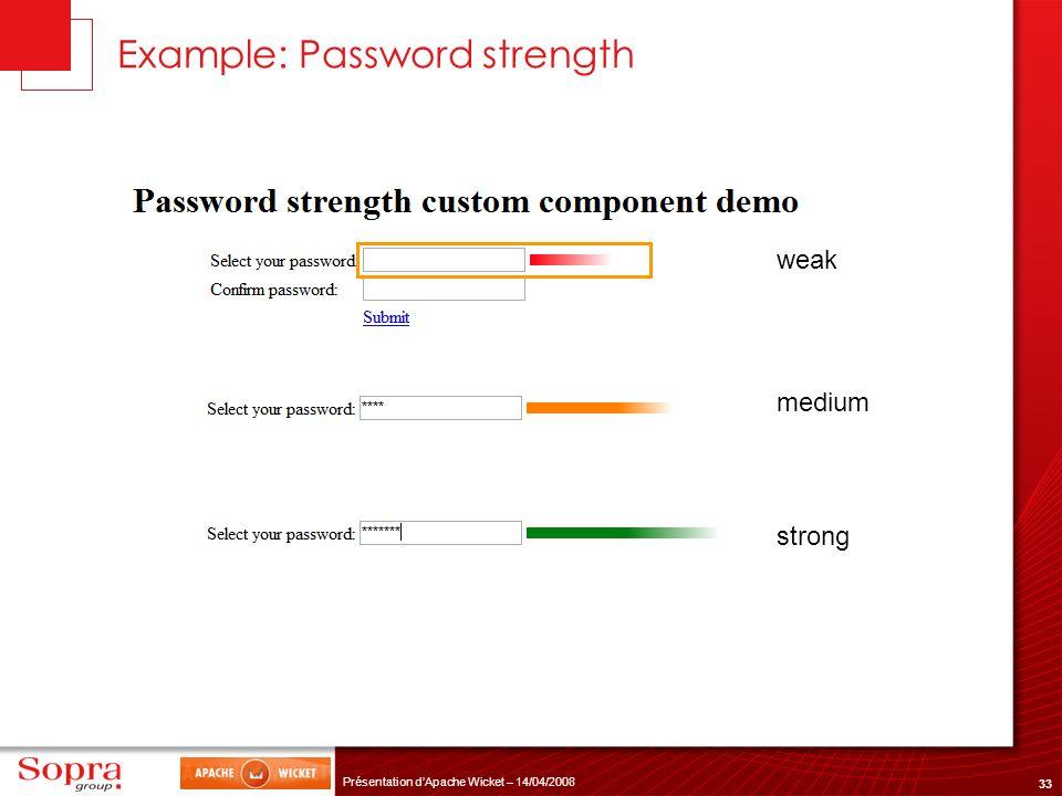 33 Présentation dApache Wicket – 14/04/2008 Example: Password strength weak medium strong