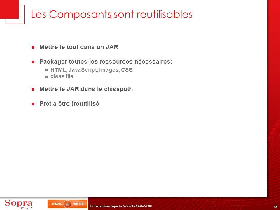 38 Présentation dApache Wicket – 14/04/2008 Les Composants sont reutilisables Mettre le tout dans un JAR Packager toutes les ressources nécessaires: H