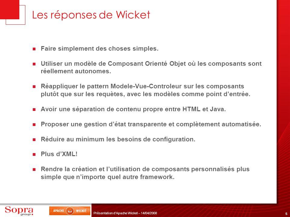 36 Présentation dApache Wicket – 14/04/2008 Example: Password strength