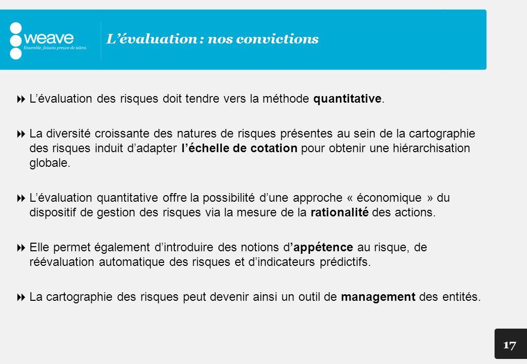 17 Lévaluation : nos convictions Lévaluation des risques doit tendre vers la méthode quantitative. La diversité croissante des natures de risques prés