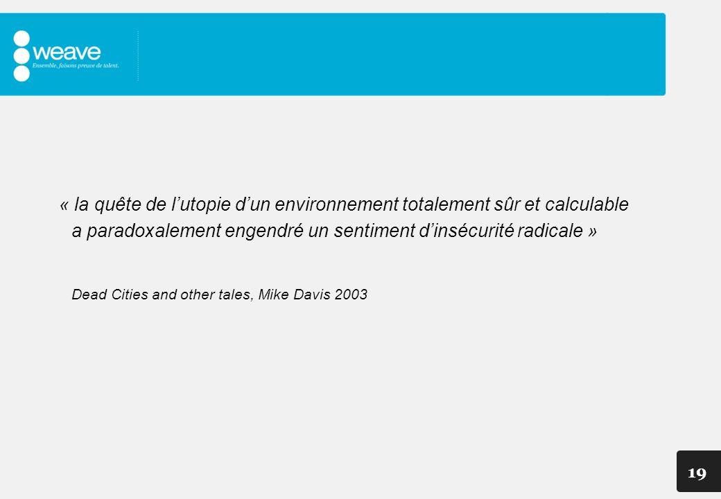 19 « la quête de lutopie dun environnement totalement sûr et calculable a paradoxalement engendré un sentiment dinsécurité radicale » Dead Cities and