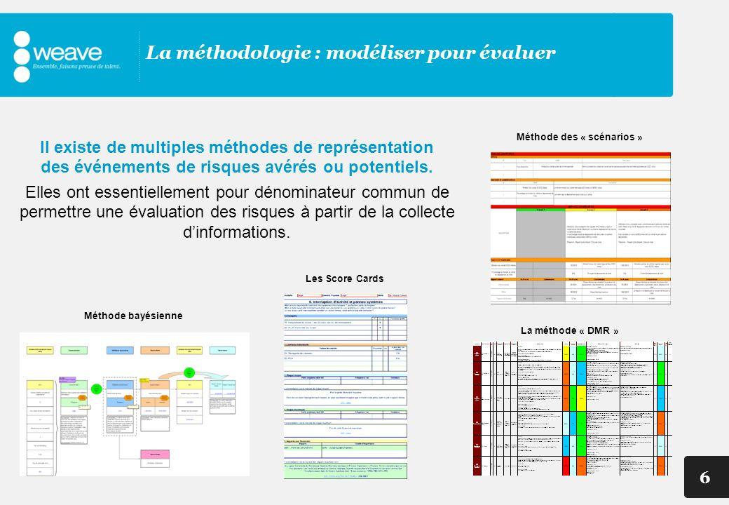 6 La méthodologie : modéliser pour évaluer Méthode bayésienne Les Score Cards Méthode des « scénarios » La méthode « DMR » Il existe de multiples méth