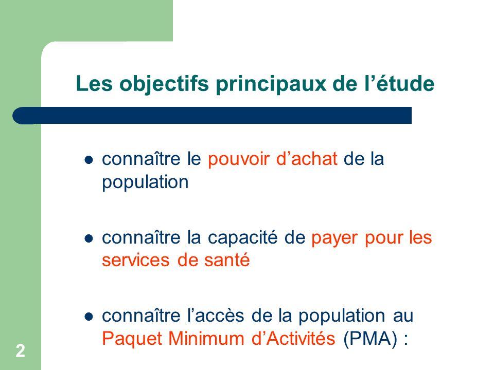 2 Les objectifs principaux de létude connaître le pouvoir dachat de la population connaître la capacité de payer pour les services de santé connaître laccès de la population au Paquet Minimum dActivités (PMA) :