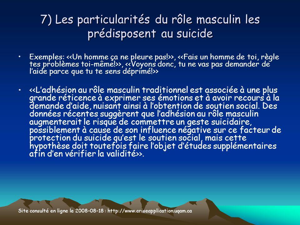 7) Les particularités du rôle masculin les prédisposent au suicide Exemples: >, >, > >. Site consulté en ligne le 2008-08-18 : http://www.criseapplica