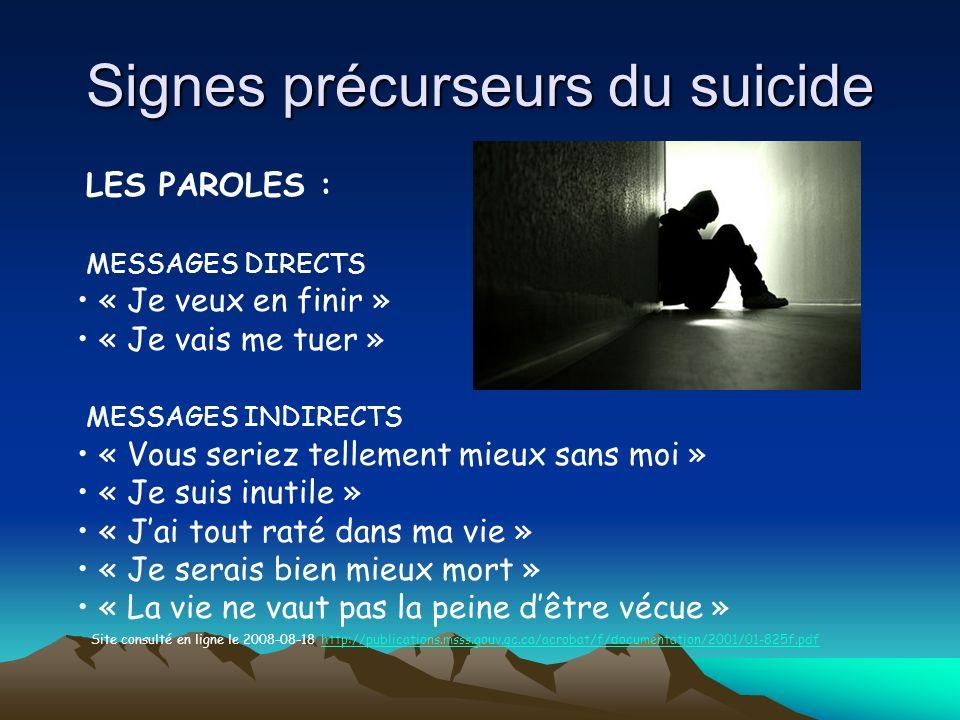 Signes précurseurs du suicide LES PAROLES : MESSAGES DIRECTS « Je veux en finir » « Je vais me tuer » MESSAGES INDIRECTS « Vous seriez tellement mieux