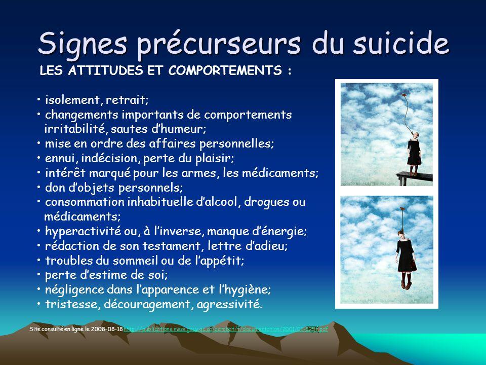 Signes précurseurs du suicide LES ATTITUDES ET COMPORTEMENTS : isolement, retrait; changements importants de comportements irritabilité, sautes dhumeu