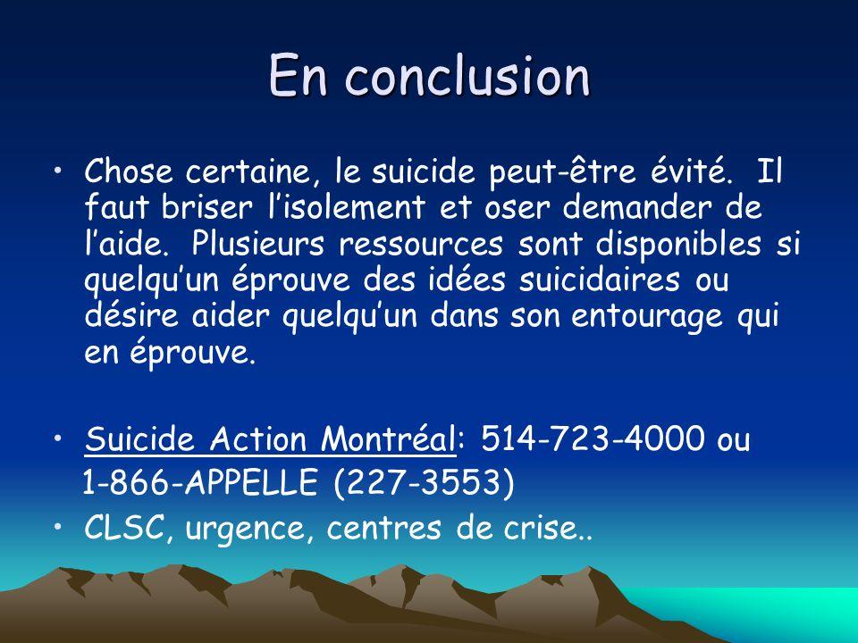 En conclusion Chose certaine, le suicide peut-être évité. Il faut briser lisolement et oser demander de laide. Plusieurs ressources sont disponibles s
