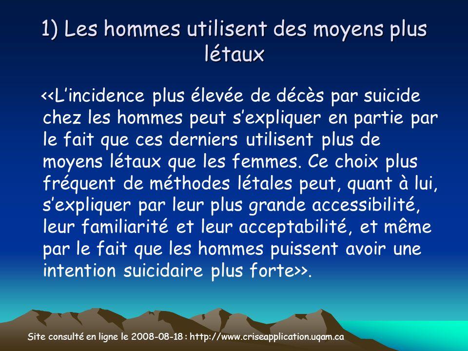 1) Les hommes utilisent des moyens plus létaux >. Site consulté en ligne le 2008-08-18 : http://www.criseapplication.uqam.ca