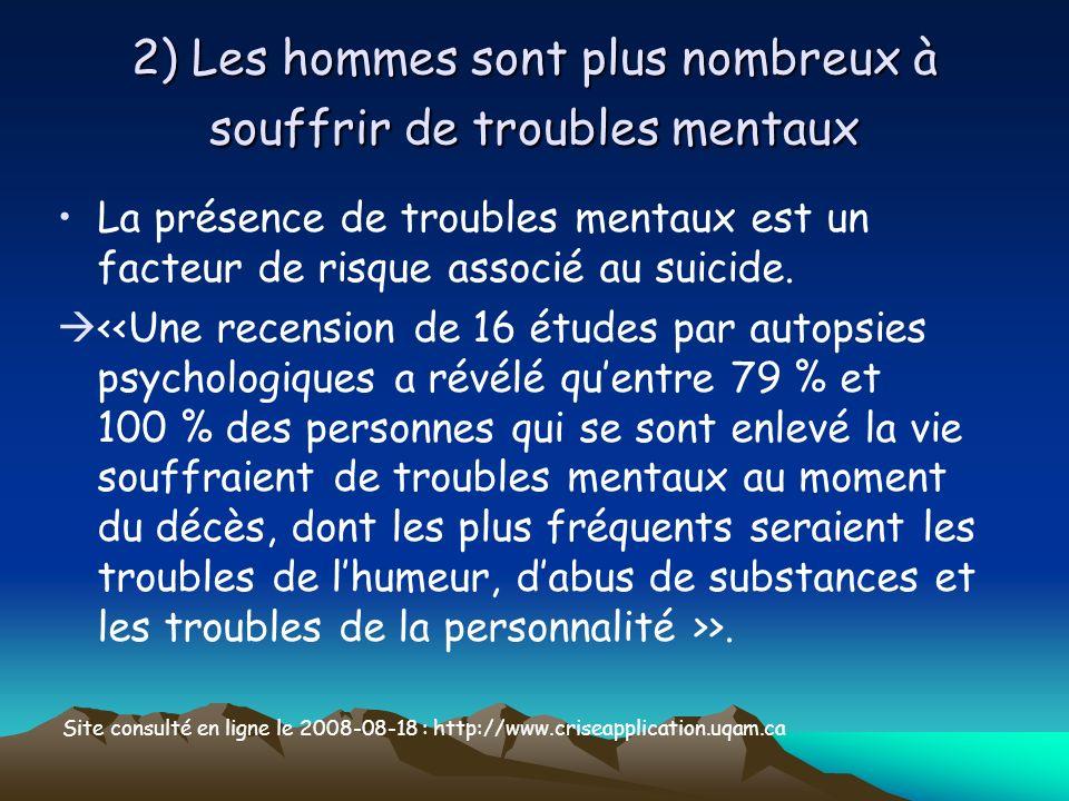 2) Les hommes sont plus nombreux à souffrir de troubles mentaux La présence de troubles mentaux est un facteur de risque associé au suicide. >. Site c