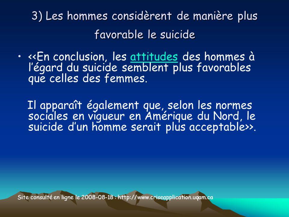 3) Les hommes considèrent de manière plus favorable le suicide <<En conclusion, les attitudes des hommes à légard du suicide semblent plus favorables